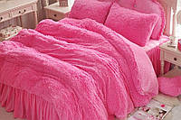 Меховое покрывало-одеяло с длинным ворсом, утепленное холлофайбером, розовое2, 150*200