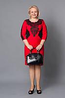 Праздничное женское платье с нашивкой из гипюра р.52-58 V263-01