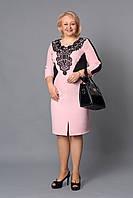 Праздничное женское платье с нашивкой из гипюра р.52-58 V263-02