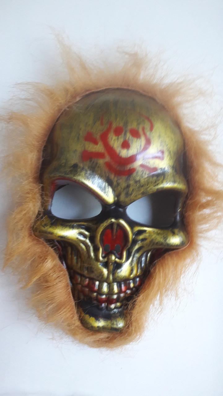 Маска Череп с рыжими волосами