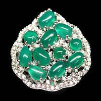 Агат зеленый, серебро 925, кольцо, 655КА