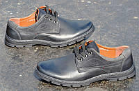 Туфли мужские на шнурках искусственная кожа черные удобные, прошиты
