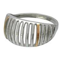 """Женское серебряное кольцо с золотыми пластинами """"Скарабей"""""""