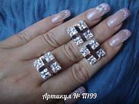 Кольцо + серьги из серебра с золотом,П199, р. ― 17 и 18.5