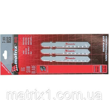 Полотна для электролобзика  по металлу, 3 шт., 50 х 0,8мм, HSS, EU- хвостовик// MTX