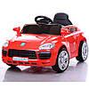 Детский электромобиль Porsche M 3272 EBLR-3,красный кожаное сиденье и мягкие колеса
