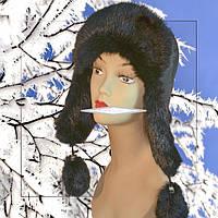 Женская шапка ушанка из меха кролика,верх плащевка