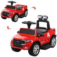 Детский электромобиль+каталка-толокар (2 в 1) M 3574EL-3,красный,мягкие колеса,кожаное