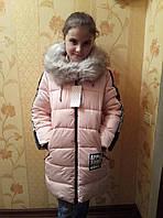 Полу-пальто зимнее детское пальто зимнеес мехом для девочки 6-10лет,пудровый цвет