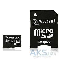 Карта памяти Transcend 4GB MicroSDHC Class 10 + SD Adapter (TS4GUSDHC10)