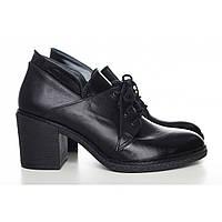 Кожаные туфли женские на шнурках черные 60553