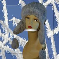 Женская шапка ушанка из меха кролика,верх кожзам