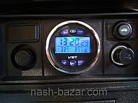Автомобильные часы vst-7042v, внутренний и наружный термометр, вольтметр, календарь, 62х32 мм, фото 1