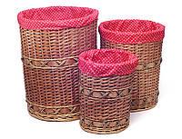 Плетенная корзина для белья в ванную набор 3 шт