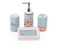 Набор для ванной комнаты мыльница, стакан, дозатор Розы