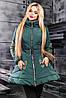 Стильная куртка осень-зима клеш с вышивкой и поясом 42-48 размера