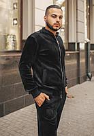 Мужской спортивный велюровый костюм, чёрный, 3 цвета. От 50 до 56
