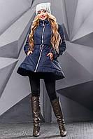 Стильная куртка осень-зима клеш с вышивкой и поясом 44-50 размера