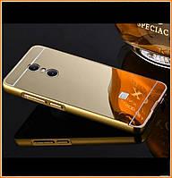 Металлический бампер Epik с акриловой вставкой с зеркальным покрытием на Xiaomi Redmi Note 4X/Note 4 (SD) Gold