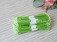 Тайские тычинки супер мелкие белые на светло зеленой нитке, фото 1
