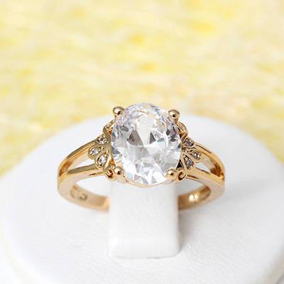 002-2170 - Позолоченное кольцо с прозрачными фианитами, 17 р.