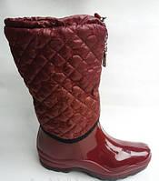 Женские силиконовые сапоги Channel 37-41р утепленные черный красный цвета