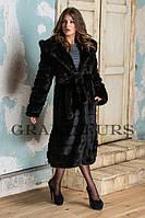 Шуба женская из эко-меха модная длинная №044 черная,магазин шуб