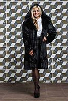 Шуба женская из эко-меха стильная №120 черная,магазин шуб