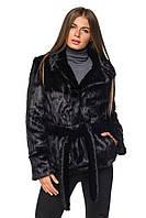 Шуба женская из искусственного меха молодежная короткая №090 черная,магазин шуб