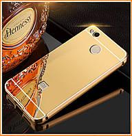 Металлический бампер Epik с акриловой вставкой с зеркальным покрытием для Xiaomi Redmi 4X Gold