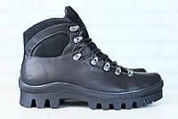 Мужские спортивные зимние кожаные ботинки на меху, черные
