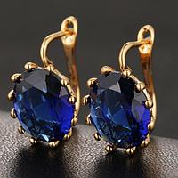 Позолоченные серьги с синими кристаллами код 1257