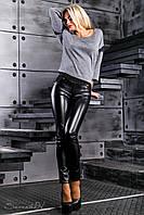 Модные легинсы под кожу из качественного турецкого трикотажа 42-50 размера, фото 1