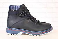 Ботинки мужские кожаные зимние на меху, черные
