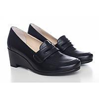 Женские кожаные туфли черные на танкетке 513-19