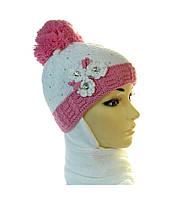 Комплект детский утепленный шапка+шарф для маленьких