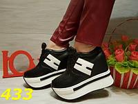 Женские кроссовки на платформе и танкетке черные, р.36-40
