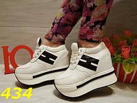 Женские кроссовки на платформе и танкетке белые, р.36-40