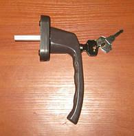 Ручка оконная с ключом, коричневая (Украина)., фото 1