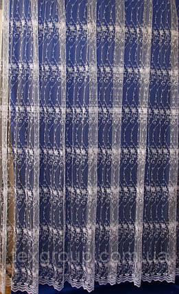 Фатиновая тюль с вышитыми цветами кремового цвета 8KC016, фото 2