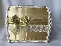 Свадебная золотая коробка для денег