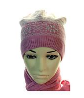 Комплект детский утепленный шапка с меховым помпоном+шарф
