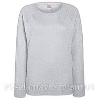 Серый свитшот женский приталенный (рукав - реглан)