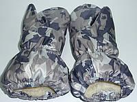 Варежки на меху принт серый камуфляж, фото 1