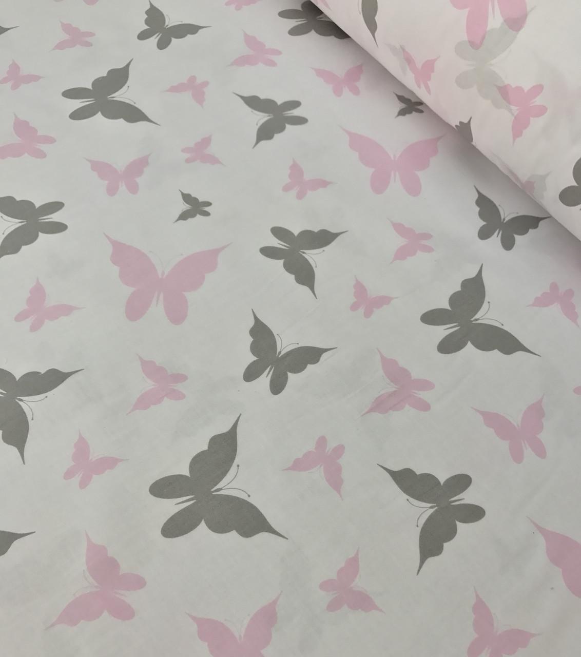 Хлопковая ткань польская шлифованная бабочки розово-серые на белом №489