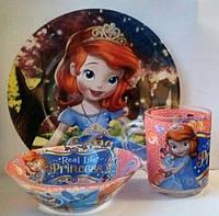 Стеклянная детская посуда София Прекрасная набор