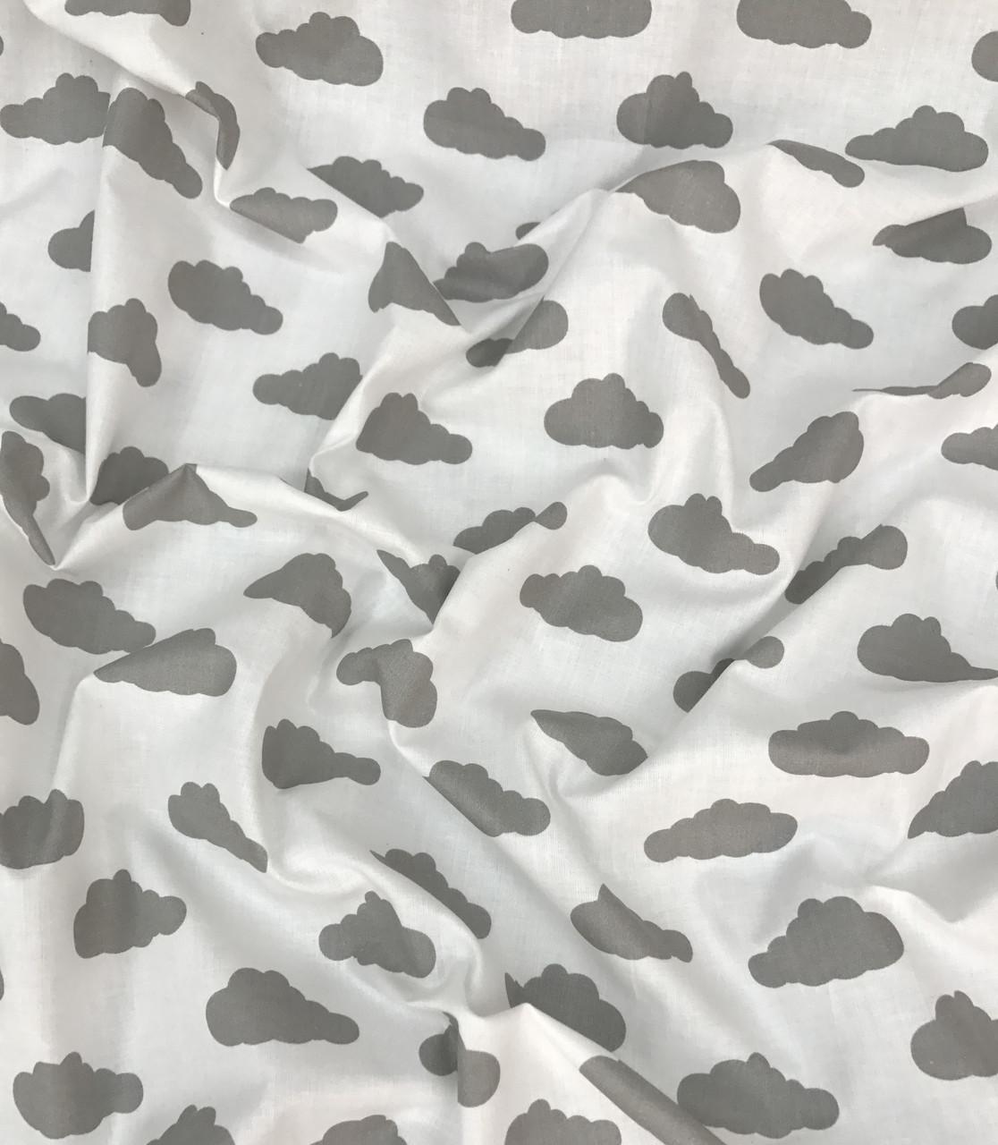 Хлопковая ткань польская шлифованная облака серые на белом №487
