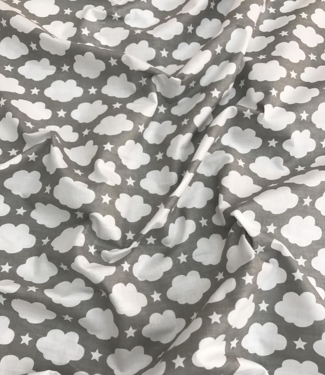 Хлопковая ткань польская шлифованная белые облака с звездочками на сером №486