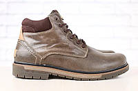 Мужские зимние кожаные ботинки на меху, коричневые