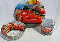 Стеклянная детская посуда Тачки Маквин набор